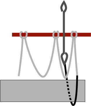 left-handed diamond netting, step one