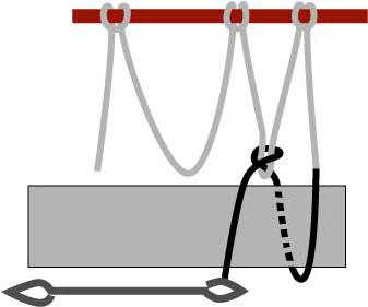 left-handed diamond netting, step two