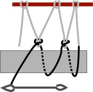 left-handed diamond netting, step three
