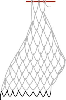 square mesh net, step seven
